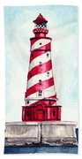 White Shoal Lighthouse Michigan Nautical Light House Red And White Candycane Stripes Beach Towel