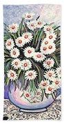 White Straw Flowers Two Beach Towel