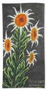 White Sunflowers Beach Towel