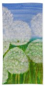 White Sunflowers, Painting Beach Towel