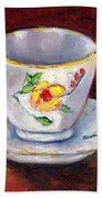 White Tea Cup With Yellow Flowers Grace Venditti Montreal Art Beach Towel