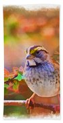 White Throated Sparrow - Digital Paint 3 Beach Towel