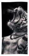 White Tiger Featured In Greece Exhibition Beach Towel