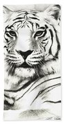 White Tiger Portrait Beach Towel