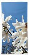 White Tree Flowers Art Prints Magnolia Blue Sky Floral Baslee Troutman Beach Towel