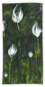White Tulip Garden Beach Towel