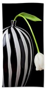 White Tulip In Striped Vase Beach Towel by Garry Gay