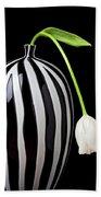 White Tulip In Striped Vase Beach Sheet
