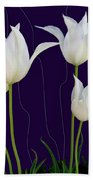White Tulips For A New Age Beach Towel
