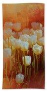 White Tulips Beach Towel by Richard Ricci