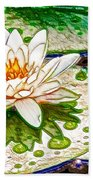 White Water Lilies Flower Beach Towel