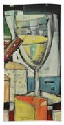 White Wine And Cheese Poster Beach Towel