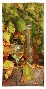 White Wine And Vineyard Autumn Season Beach Towel