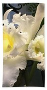 White With Yellow Orchids  Beach Towel
