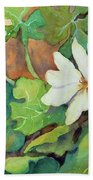 White Woodland Flower Beach Towel