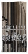 White Wrought Iron Gate In Chicago Beach Towel