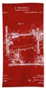 Whitehill Sewing Machine Patent 1885 Red Beach Towel