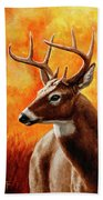 Whitetail Buck Portrait Beach Towel