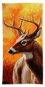 Whitetail Buck Portrait Beach Sheet