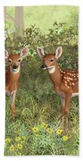 Whitetail Deer Twin Fawns Beach Towel by Crista Forest