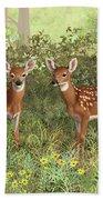 Whitetail Deer Twin Fawns Beach Sheet by Crista Forest