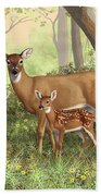 Whitetail Doe And Fawns - Mom's Little Spring Blossoms Beach Sheet by Crista Forest
