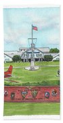 Whiting Field Welcome Sign Beach Towel by Betsy Hackett