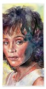 Whitney Houston Portrait Beach Towel