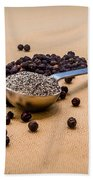 Whole Black Peppercorns With A Heaping Teaspoon Of Ground Pepper Beach Towel