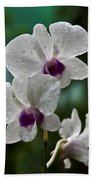 Whte Orchids Beach Towel