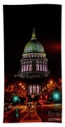 Wi State Capitol From West Washington Ave Beach Towel