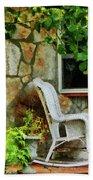Wicker Rocking Chair On Porch Beach Towel