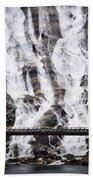 Wide Waterfal Joining The Sea Beach Towel