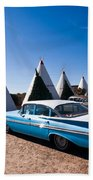 Wigwam Motel Classic Car #6 Beach Towel