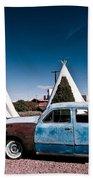Wigwam Motel Classic Car #7 Beach Towel