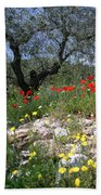Wild Flowers And Olive Tree Beach Towel