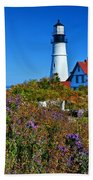 Wild Flowers Fading At The Portland Head Light Beach Towel