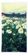 Wild Flowers White Beach Towel