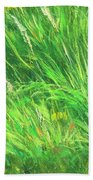 Wild Meadow Grass Structure In Bright Green Tones, Painting Detail. Beach Towel
