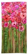 Wild Poppy Garden - Pink Beach Towel