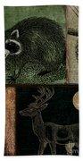 Wild Racoon And Deer Patchwork Beach Towel
