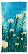 Poppies In The Blue Sky Beach Towel
