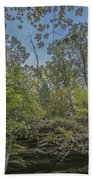 Wildcat Den Cliffs And Trees In Fall Beach Towel