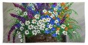 Wildflower Basket Acrylic Painting A61318 Beach Towel