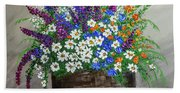 Wildflower Basket Acrylic Painting A61318 Beach Sheet