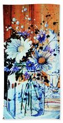 Wildflowers In A Mason Jar Beach Towel