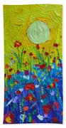 Wildflowers Meadow Sunrise Beach Towel
