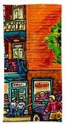 Wilensky Diner Little League Expo Kids Baseball Painting Montreal Scene Canadian Art Carole Spandau  Beach Towel