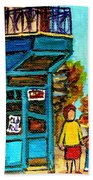 Wilensky's Counter With School Bus Montreal Street Scene Beach Towel
