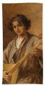 Wilhelm Amardus Beer, Portrait Of A Musician Boy Beach Towel